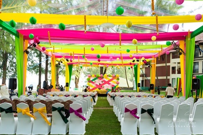 outdoor colourful drap decor with paper hanging with backdrop