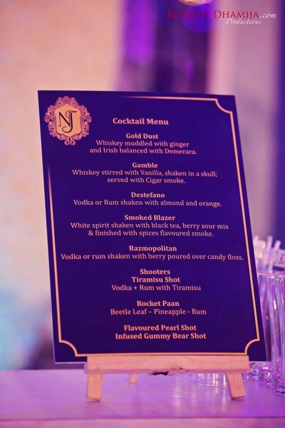 Elegant cocktail menu at the party