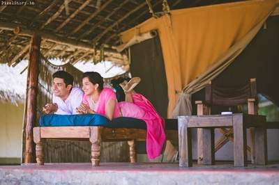 Megha wearing ombre pink saree and Shravan complementing her in baby pink shirt for the pre wedding shoot.