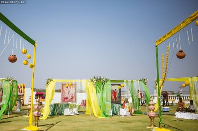 Beautiful Yellow and Green decor for the Mehendi ceremony held at RFC, Hyderabad, by Bling Mushrooms.