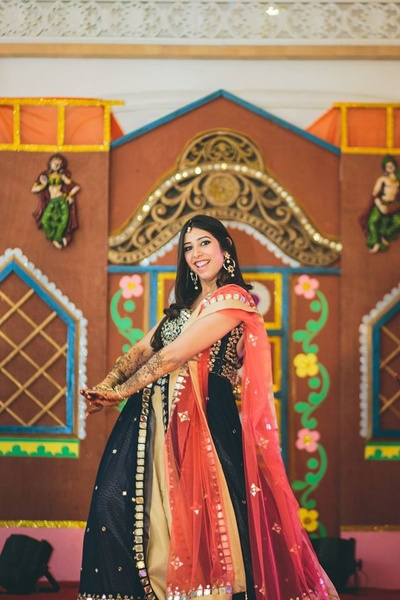 Wearing deep blue anarkali and peach dupatta with beautiful mirror work styled with jhumkaas and maang tikka.