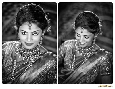 Beaming and blushing for her big day with flawless makeup and heirloom jewellery
