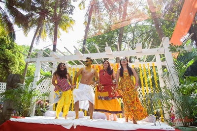 The groom and his friends having fun at the haldi ceremony