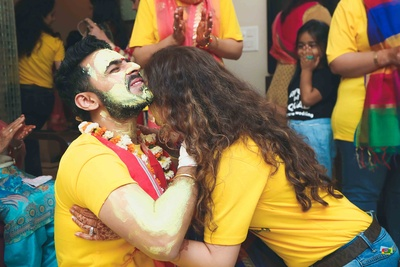 Groom's haldi function kicks off with his friends and family in matching tshirts