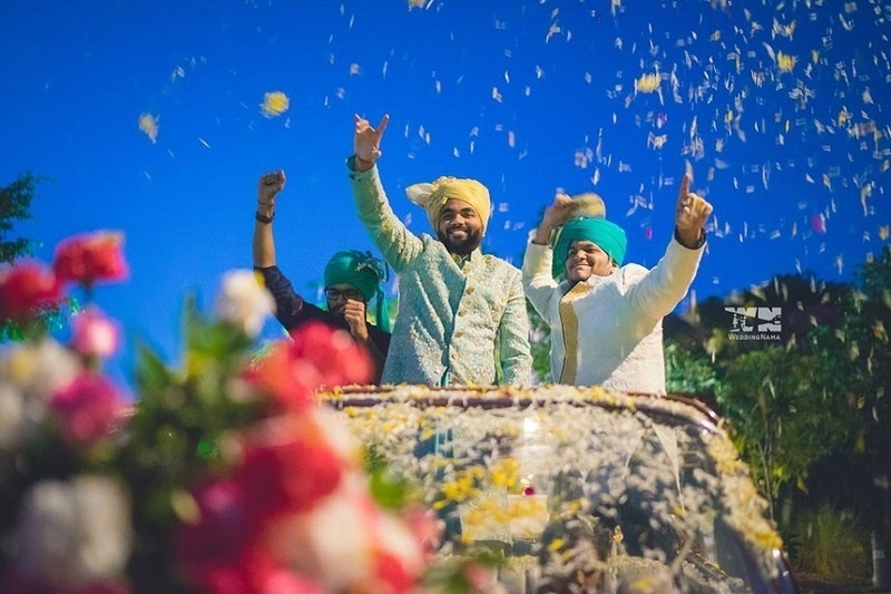 6. Making the grand entrance in the baraat: