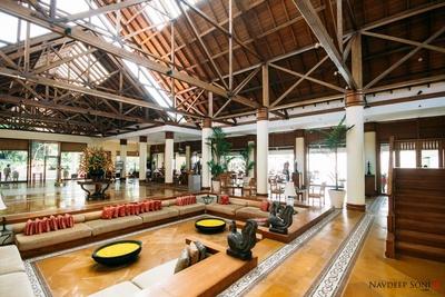 Opulent lobby area of the Leela, Kovalam