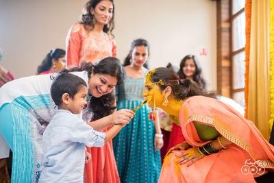 Ceremonial wedding photography of the bride's haldi function at La Brise, Goa