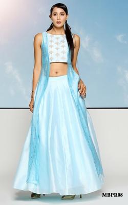 Meena Bazaar Ice Blue Chanderi Lehenga Set