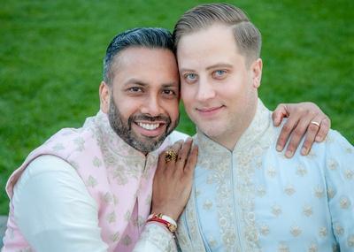 Amit and Martin looking dapper in custom Tarun Tahiliani sherwanis for their sangeet ceremony!