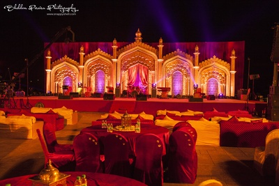 Mughal fort style stage decoration with subtle lighting