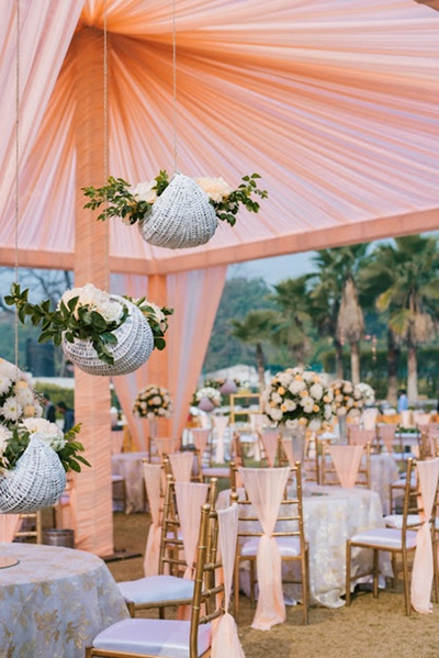 peach and white themed wedding decor