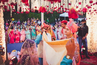 Ceremonial wedding photography of the bride and groom during the wedding