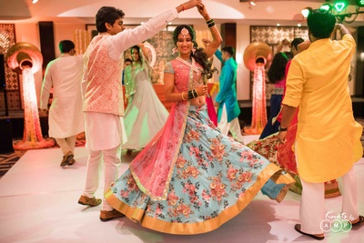 Bridal lehenga design for the sangeet ceremony captured by Knots by AMP