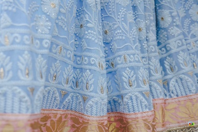 Close up of the traditionally embroidered lehenga for the wedding