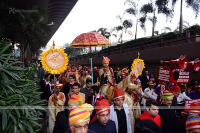 Baraatis dressed in multi-colored safas for the wedding celebrations held at The Cube, Mumbai