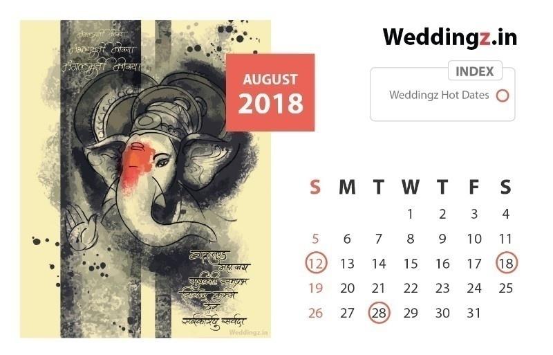 Auspicious Marriage Dates August 2018