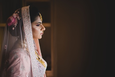 A stunning shot of the bride right after she got ready for the wedding ceremony.