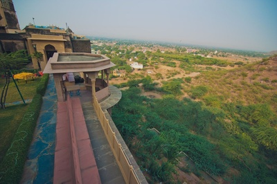 Long shot view from Neemrana Fort Palace, situated in Neemrana city at the Delhi-Jaipur Highway