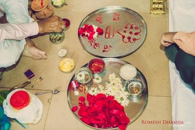 Puja decor for the couple's haldi function