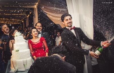 Wedding reception cake ceremony.