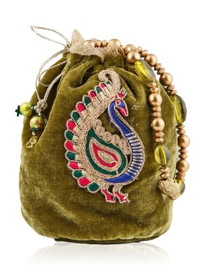 Peacock Velvet Mehandi Favor Bag