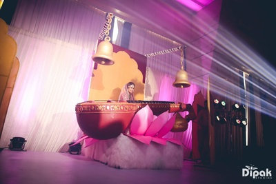 Bridal entry in a makeshift Saraswati pose at Sahara Star, Mumbai