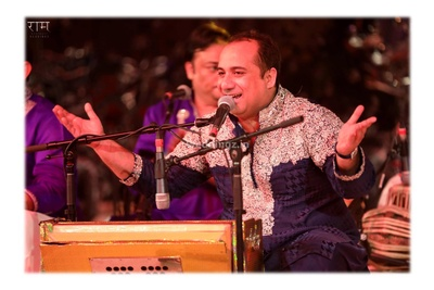 Ustaad Rahat Fateh Ali khan singing during the sangeet ceremony