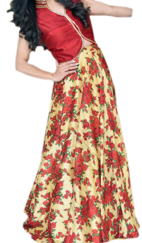 b55c6a36e0518 Buy Designer Silk Skirt and Crop Top online