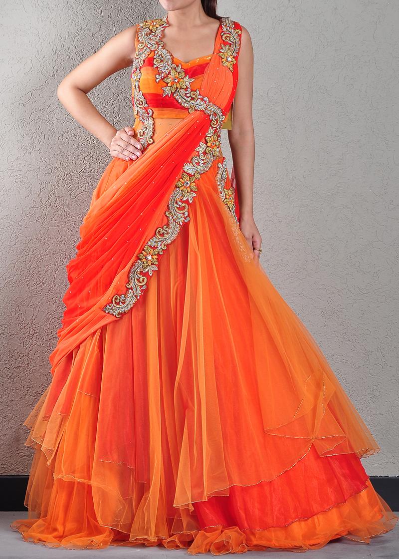 Buy Embellished Orange Designer Gown Online Gowns Womens Wear