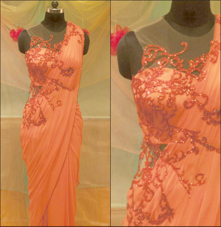 Buy Designer Coral Saree Gown online | Gowns | Womens wear | Shop ...