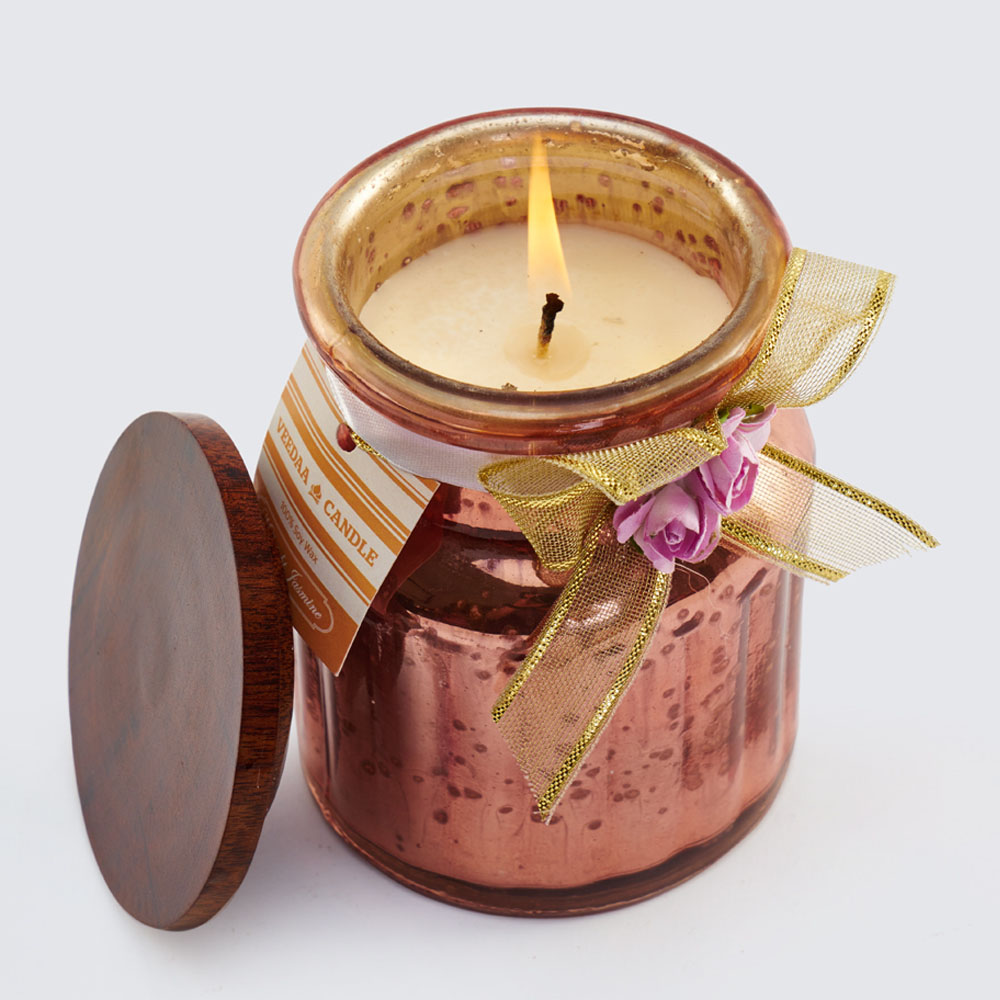 Buy veeda small mercury jar candle copper online for Candele on line