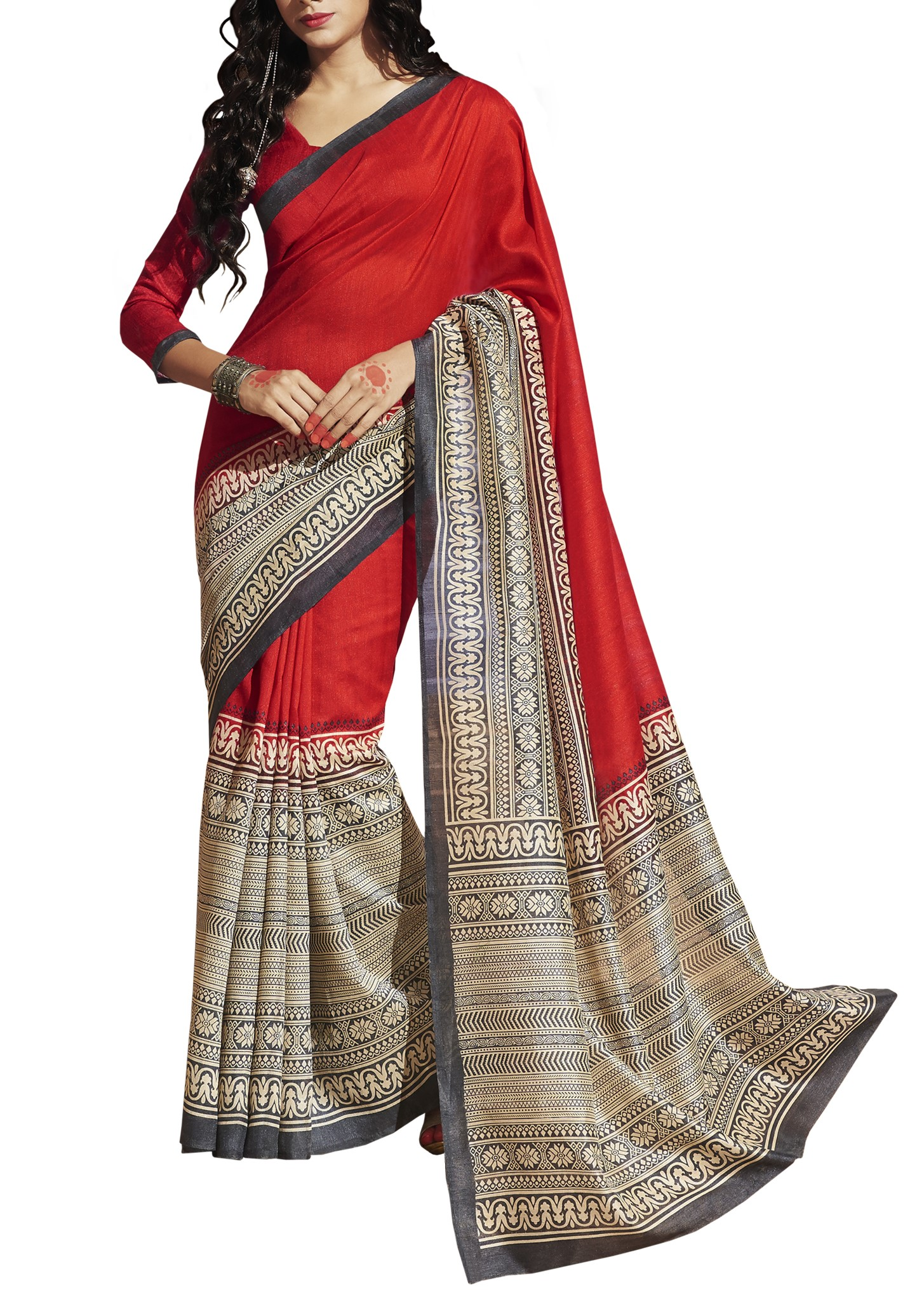 43a930c9442 Buy Saree Exotica Traditional Print Red Saree online