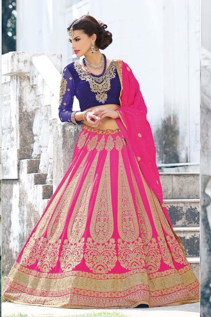 fe4e56843 Buy Variation Pink Georgette Bridal Lehenga Choli online