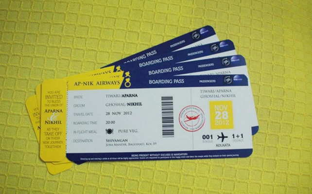 Boarding passes! Perfect for a destination wedding.
