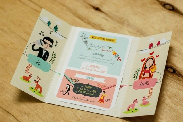 Caricature invites are so personalised and cute.