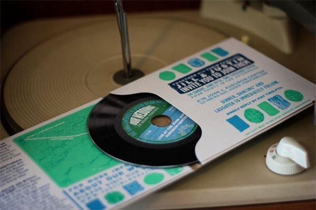 Let the world listen to your tunes of love with this CD invite.