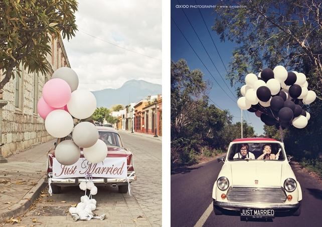 Wedding car decoration idea: Balloons