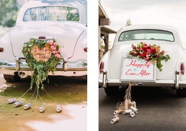 Wedding car decoration idea: Signboards