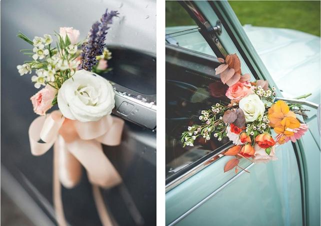 Wedding car decoration idea: The Boutonniere Style