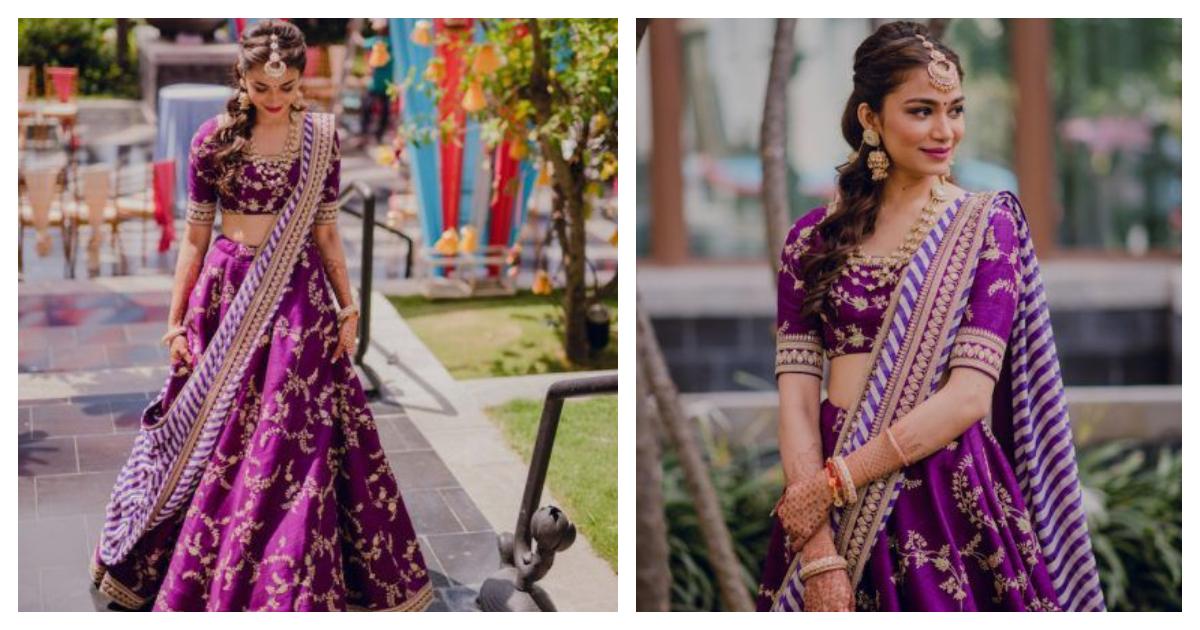 This Chennai bride's purple Sabyasachi lehenga is taking over social media!